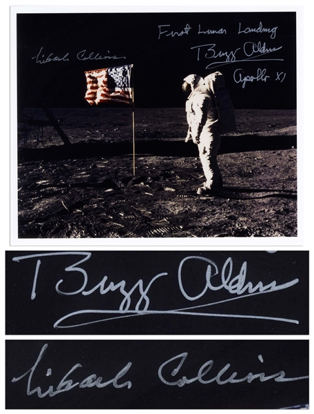 Buzz Aldrin and Michael Collins Signed 10 x 8 First Lunar Landing Photo -- Aldrin Stands in Front of the U.S. Flag on the Moon