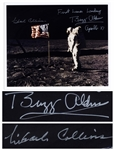 "Buzz Aldrin and Michael Collins Signed 10"" x 8"" ""First Lunar Landing"" Photo -- Aldrin Stands in Front of the U.S. Flag on the Moon"