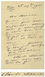 Claude Monet Autograph Letter Signed -- Monet Writes to His Wine Merchant, Ordering Both Red & White Wine