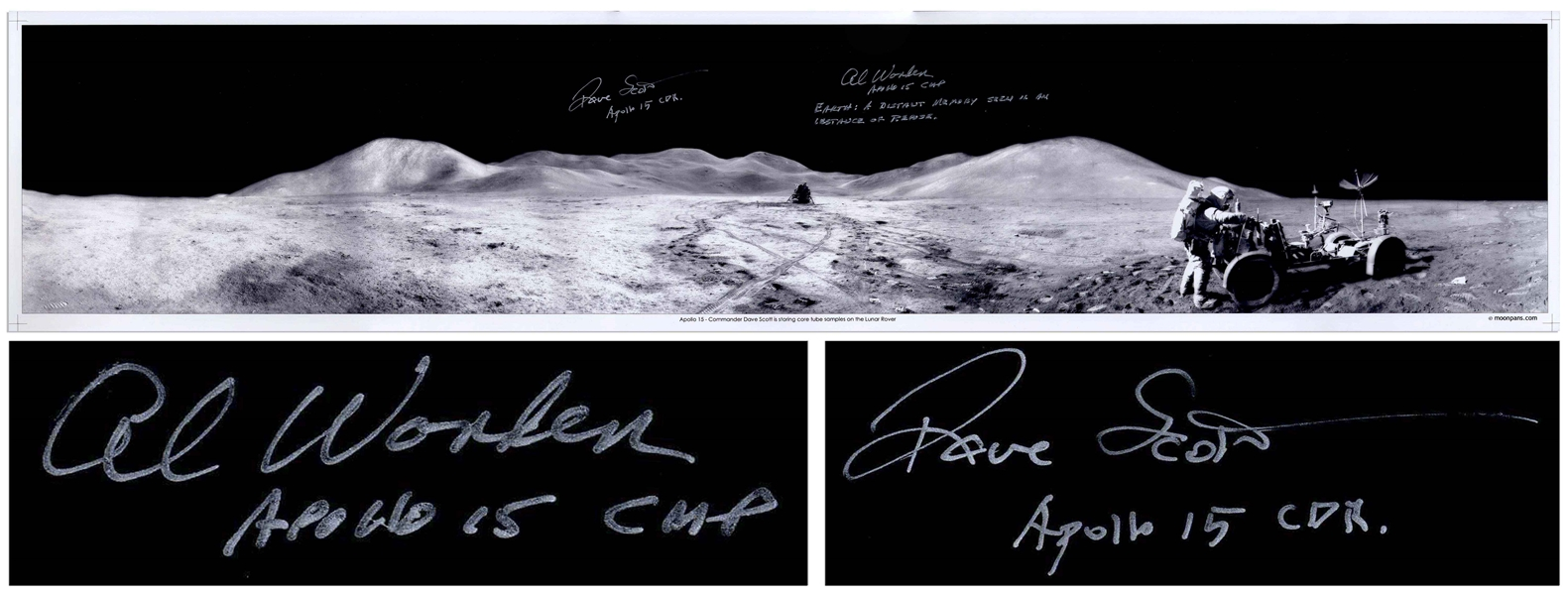 Al Worden & Dave Scott Signed Panoramic 40.5 x 8.5 Photo of the Moon's Surface -- Worden Additionally Writes His Famous Quote About Seeing Earth From the Moon