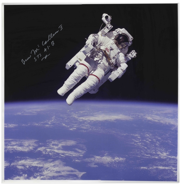 Bruce McCandless Signed 20 x 20 Photo of Him Performing the First Non-Tethered Spacewalk