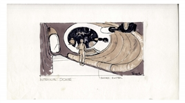 "Early Concept Art for ""Alien"", Done in 1977 -- Showing the ""Interior Dome"" of the Nostromo Spaceship"