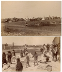 Two Original Photographs From 1890-91, From the Time of the Wounded Knee Massacre -- One Photograph Shows the Sioux on Ration Day & Other Shows a Sioux Camp After the Massacre