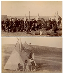 Two Original Photographs From 1890-91, From the Time of the Wounded Knee Massacre -- One Photograph Shows the 8th U.S. Infantry Before the Battle & Other Shows Blue Whirlwind & Her Family Post-Battle