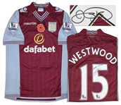 Aston Villa Jersey Worn & Signed By Ashley Westwood, #15