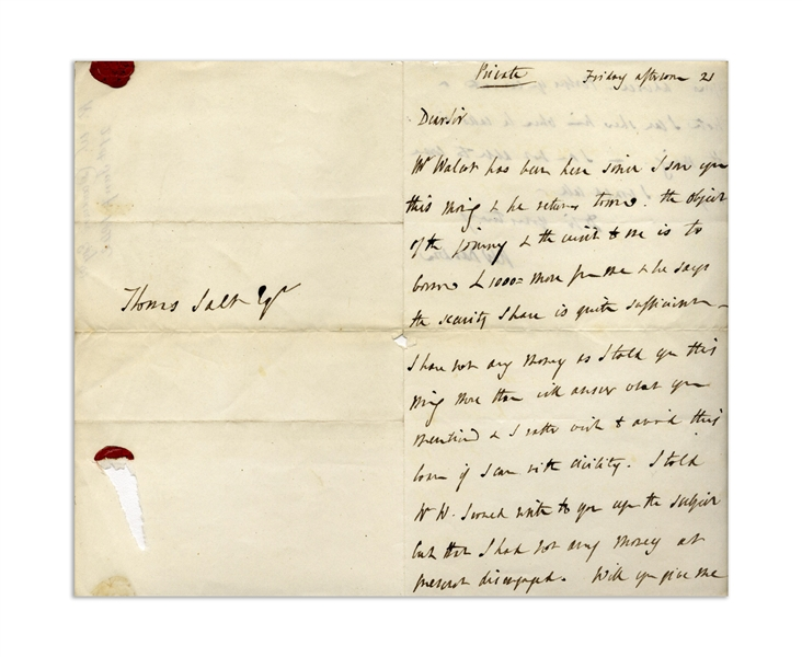 Autograph Letter Signed by Robert Darwin, Charles Darwin's Father -- …I have not any money as I told you…