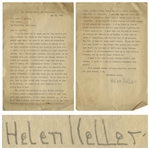 "Helen Keller Letter Signed -- ""…it was as if many friendly hands were held out to me in the dark…I look up to this shining doorway, and my spirit wings towards it…"""