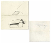 Dwight D. Eisenhower Sketch as President -- Eisenhower Draws Two Farmhouse Barns