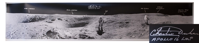 "Charlie Duke Signed 40"" Panoramic Photo of the Lunar Surface During the Apollo 16 Mission"