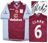 Aston Villa Jersey Worn & Signed By Ciaran Clark, #6