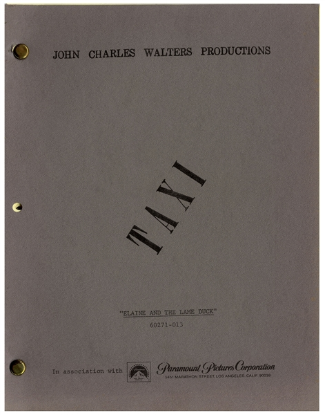 Taxi Script From 1978 -- From the Estate of Sam Simon, Co-Creator of The Simpsons & Writer on Taxi
