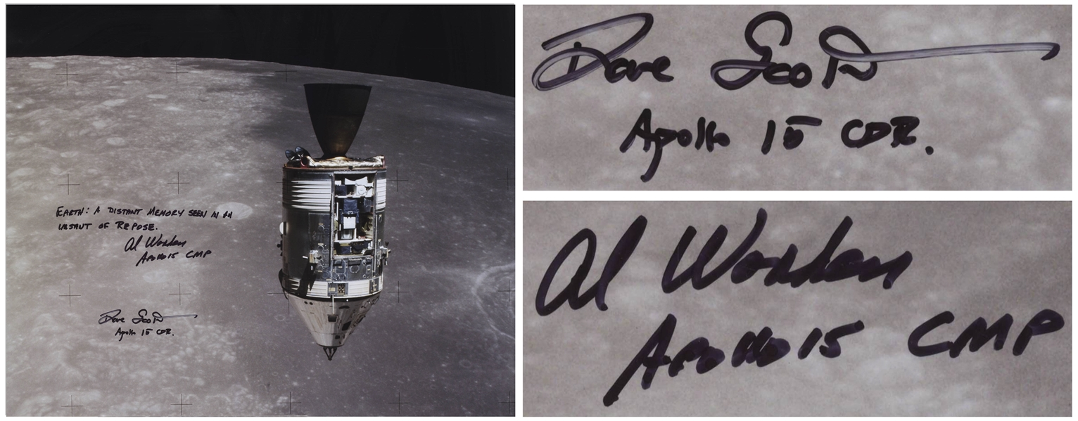 Al Worden & Dave Scott Signed 20'' x 16'' Photo of the Apollo 15 Command Module Against the Moon -- Worden Additionally Writes ''Earth: A distant memory seen in an instant of repose''