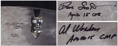 Al Worden & Dave Scott Signed 20 x 16 Photo of the Apollo 15 Command Module Against the Moon -- Worden Additionally Writes Earth: A distant memory seen in an instant of repose
