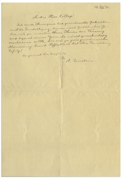 Albert Einstein Autograph Letter Signed From 1921 the Year of His Nobel Prize Win