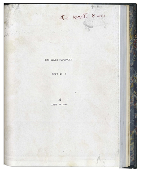 Extraordinary Bound Volume of ''raw, unworked poems'' by Anne Sexton in 1973 -- With Two Letters Signed to Critic Walter Kerr, Whom She Sent Them to, One Day After She Finished the Drafts