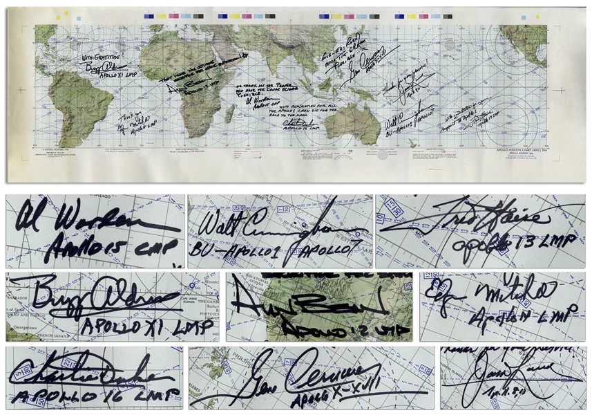 Apollo I Mission Chart Signed by 9 Apollo Astronauts, All Expressing Their Gratitude to the Three Astronauts Who Gave Their Lives