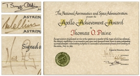 Apollo 11 Crew Signed Apollo Achievement Award to Thomas O. Paine, Famed NASA Administrator During Apollo 11 -- With Steve Zarelli COA