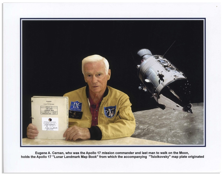 Apollo 17 Flown Lunar Map of the Tsiolkovsky Crater on the Far Side of the Moon -- With COA Signed by Apollo 17 Mission Commander Gene Cernan