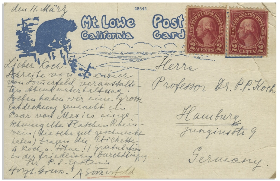 Drs. Arnold Sommerfeld and Paul Epstein Write a Jovial Postcard to Fellow Dr. Peter Paul Koch