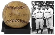 Yankees Team-Signed Ball From 1929, Featuring Babe Ruths Signature on the Sweet Spot -- With PSA/DNA COA