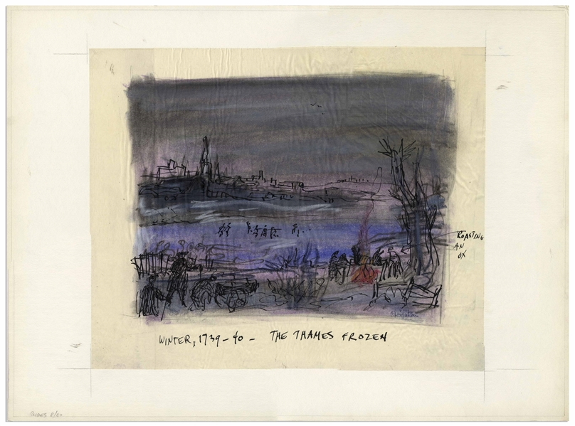 Bernard Krigstein Signed Illustration, Entitled Winter, 1739-40 - The Thames Frozen From 1959 for a Handel LP -- Large Illustration Measures 16.75 x 13.75
