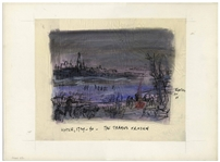 "Bernard Krigstein Signed Illustration, Entitled ""Winter, 1739-40 - The Thames Frozen"" From 1959 for a Handel LP -- Large Illustration Measures 16.75"" x 13.75"""