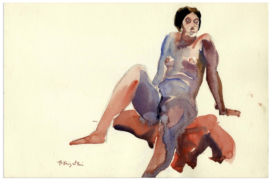Bernard Krigstein Nude Watercolor -- Measures 15'' x 10''