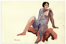 Bernard Krigstein Nude Watercolor -- Measures 15 x 10