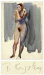 Bernard Krigstein Nude Watercolor -- Measures 15 x 11