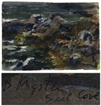 "Bernard Krigstein Artwork Entitled ""Maine Rocks (Seal Cove)""-- Large Watercolor Measures 22"" x 15"""