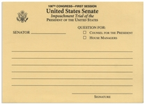 Senate Question Card for the Bill Clinton Impeachment Trial