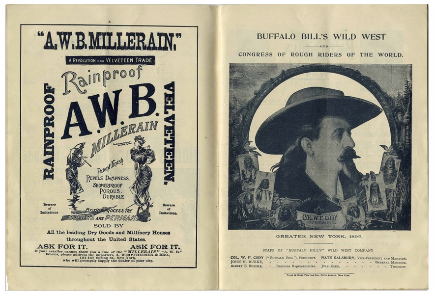 1895 Program for ''Buffalo Bill's Wild West'' Show -- Featuring Buffalo Bill Cody ''sharpshooting at full speed'', Annie Oakley & Cody Rescuing Settlers From Attack