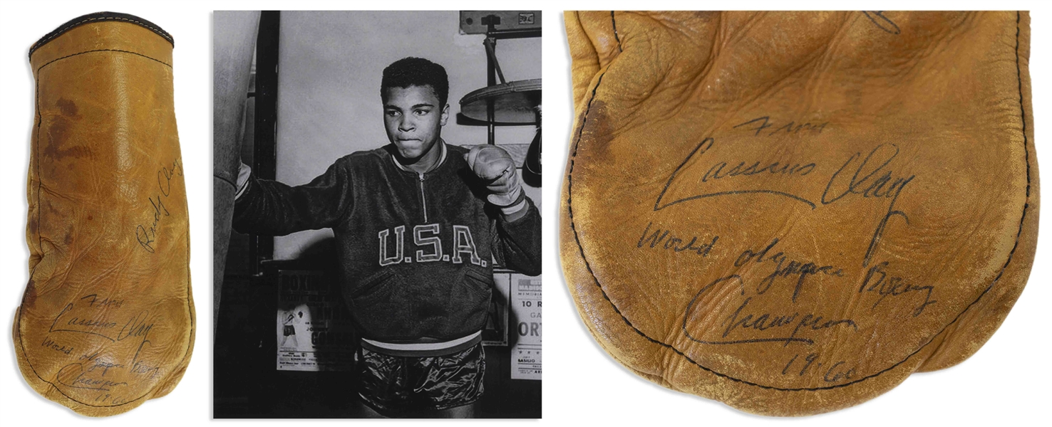 Muhammad Ali Signed Boxing Glove From the Early 1960s as Cassius Clay -- Ali Signs ''Cassius Clay / World Olympic Boxing Champion / 1960'' -- Gorgeous, Bold Signature With COA From Craig R. Hamilton