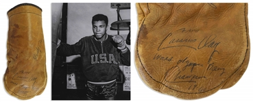 Muhammad Ali Signed Boxing Glove From the Early 1960s as Cassius Clay -- Ali Signs Cassius Clay / World Olympic Boxing Champion / 1960 -- Gorgeous, Bold Signature With COA From Craig R. Hamilton
