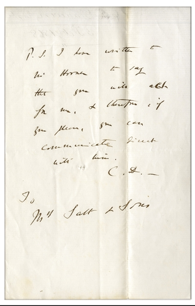 Charles Darwin Autograph Note Signed -- ''...you can communicate direct with him...''