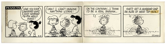 Charles Schulz Hand-Drawn Peanuts Comic Strip From 1967 -- In This Strip Violet Argues That Pig-Pen Would Make a Good Husband