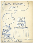 Charles Schulz Hand-Drawn Sketch of Charlie Brown Blowing Out Birthday Candles -- Measures 8.5 x 11