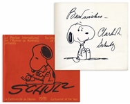 Charles Schulz Signed 8 x 7 Drawing of Snoopy