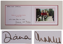 Princess Diana and Prince Charles Signed Christmas Card From 1990 -- With Family Portrait Featuring William & Harry