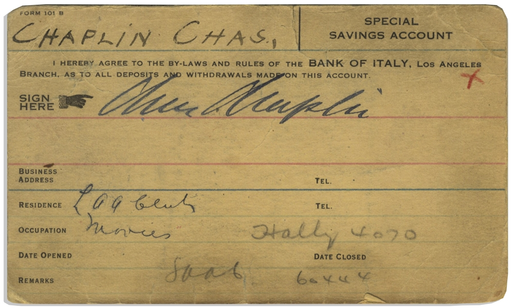 Charlie Chaplin Signed Bank Card