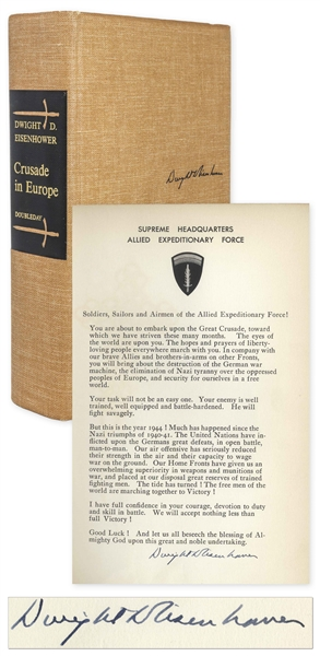 Dwight D. Eisenhower Signed D-Day Speech From the Limited Edition of ''Crusade in Europe''