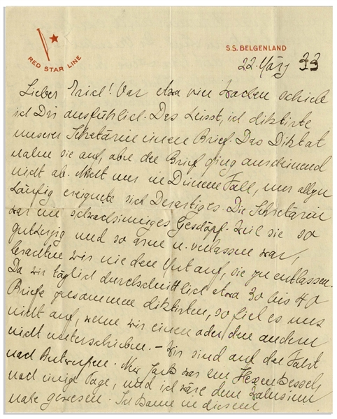 Historically Important Elsa Einstein Autograph Letter Signed From March 1933 While Traveling Back to Germany -- ''...We are now going into exile...We must not go to Berlin...Alfred cannot risk it...''