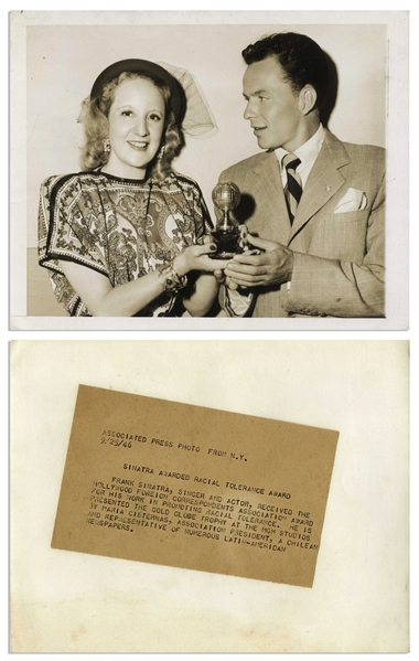 Frank Sinatra 1945 Golden Globe Award for ''The House I Live In'' That Promoted Jewish Tolerance -- The Only Major Award Won by Frank Sinatra to Appear at Auction