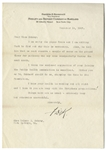 Franklin D. Roosevelt Letter Signed Regarding the Practical Details of Running the Warm Springs Institute -- ...I am sorry the pipes froze...