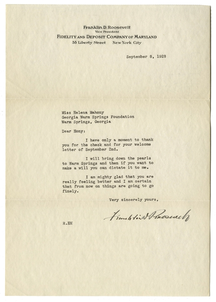 Franklin D. Roosevelt 1928 Letter Signed With His Full Signature -- FDR Writes to His Physical Therapist, ''...I will bring down the pearls to Warm Springs and then if you want to make a will...''