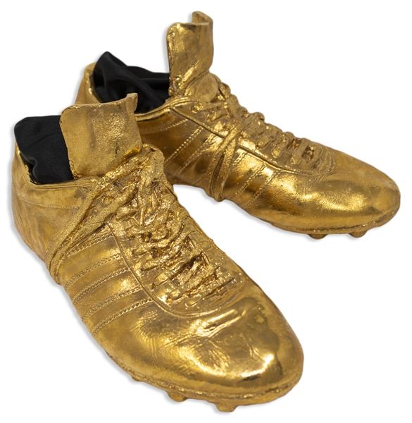 George Best Limited Edition Pair of His Football Shoes, Cast in Gold Finish -- With Letter of Authenticity From the George Best Foundation