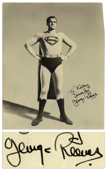 George Reeves Signed Photo as Superman -- With PSA/DNA COA