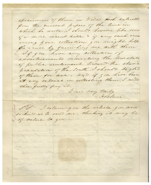 Superb Harriet Beecher Stowe Autograph Letter Signed Regarding Slavery -- ''...Nothing more is needed than to awaken the attention of the public to an expose of the slave law system...''
