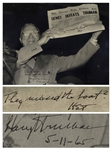 Harry Truman Twice-Signed 13.25 x 10.5 Photograph, Famously Showing Truman Holding Up the Dewey Defeats Truman Newspaper -- Truman Writes They missed the boat?