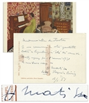Henri Matisse Autograph Letter Signed on the Verso of a Postcard Featuring His Painting Pianist and Checker Players
